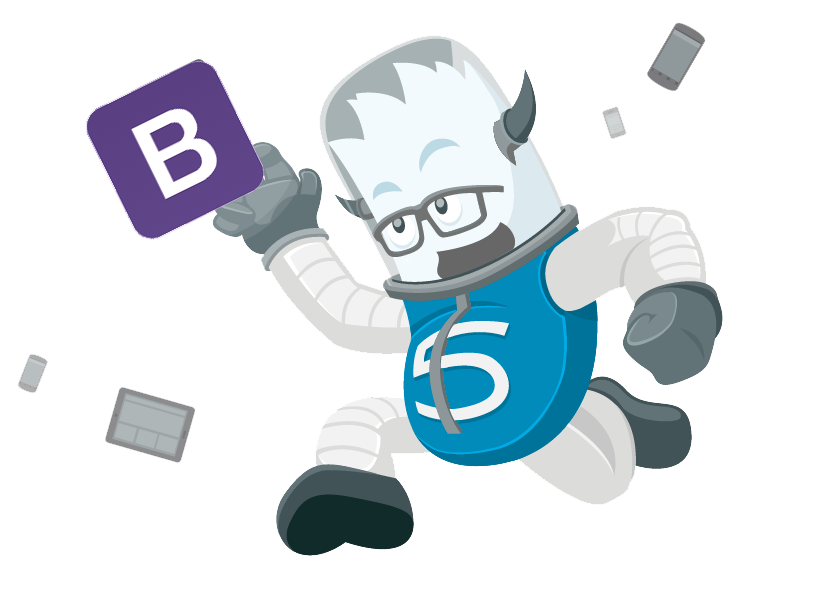 Bootstrap Foundation Five monster high fiving (get it?) the Bootstrap logo because everyone is friends